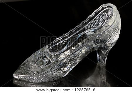 Glass Slipper isolated on a black background