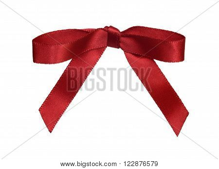 The red bow isolated on a white background.