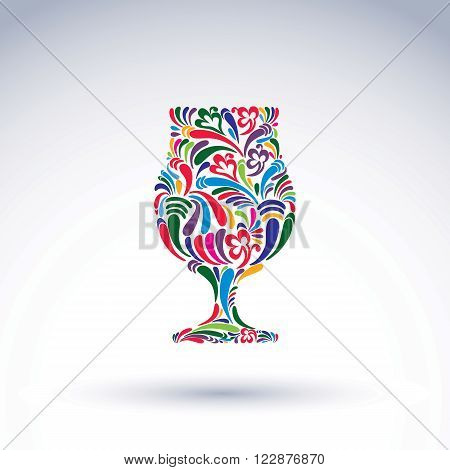 Natural Decoration, Graphic Snifter With Bright Flower-patterned Filling And Curls. Alcohol Vector I