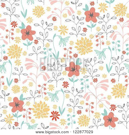 spring seamless pattern with different hand-painted flowers