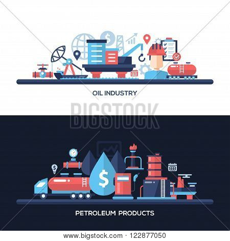 Oil and gas industry website and protection header, banner, icons and other flat design web elements