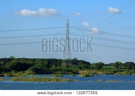 The high-voltage electricity pole, sand pond waterfront. ** Note: Soft Focus at 100%, best at smaller sizes