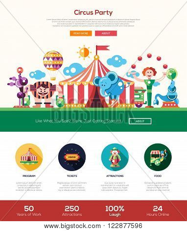 Circus and carnival party web site one page website template layout with thin line design header, banner, icons and other flat design web elements