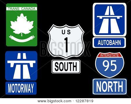 international Highway signs illustration American Canadian German and British  JPG