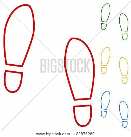 Imprint soles shoes. Set of line icons. Red, green, yellow and blue on white background.