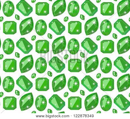 Seamless pattern with green precious gem emerald in flat style. Seamless gem pattern. Emerald background. Flat design pattern. Vector illustration