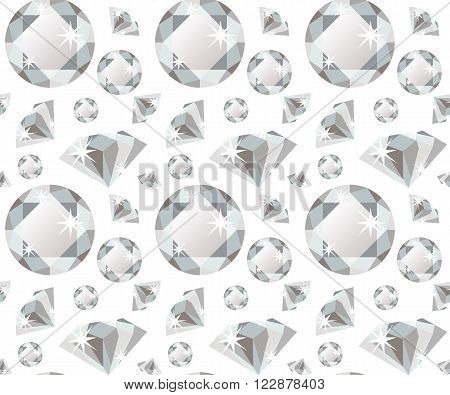 Seamless pattern with colorless precious gem diamond in flat style. Seamless gem pattern. Brilliant background. Flat design pattern. Vector illustration