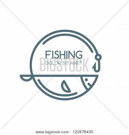 Vector fishing logo label badge emblem design elements. Outline fish fishing rod and hook illustration isolated.