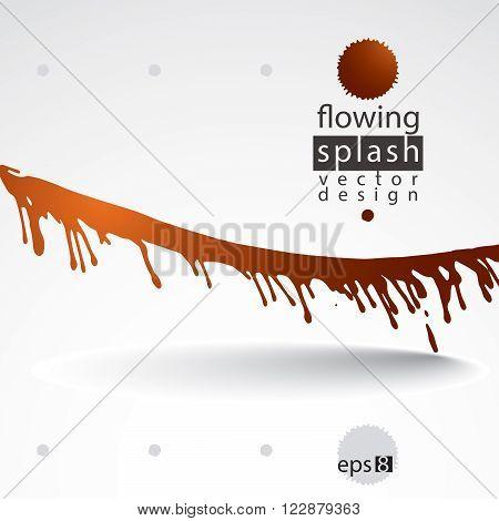 Watercolor orange splash element bright inaccurate paint backdrop, asymmetric spotted shape.