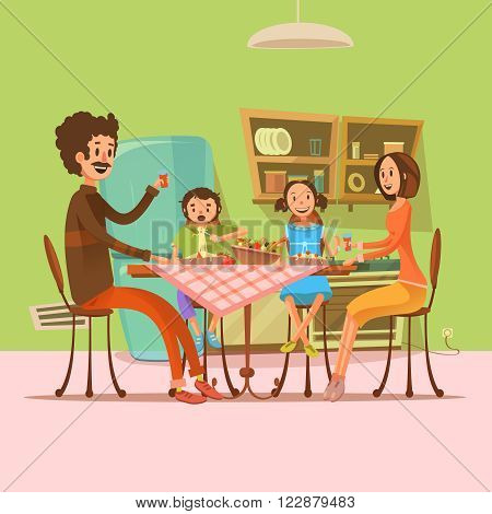 Family having meal in the kitchen with fridge and table retro cartoon vector illustration