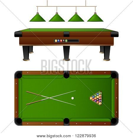 Pool Billiard table and furniture set with cue multi colored balls lamp vector illustration