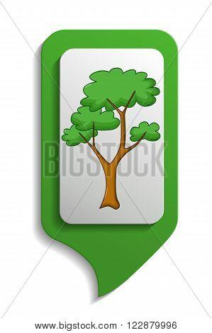 Map Sign Savanna Tree Icon, Cartoon Style