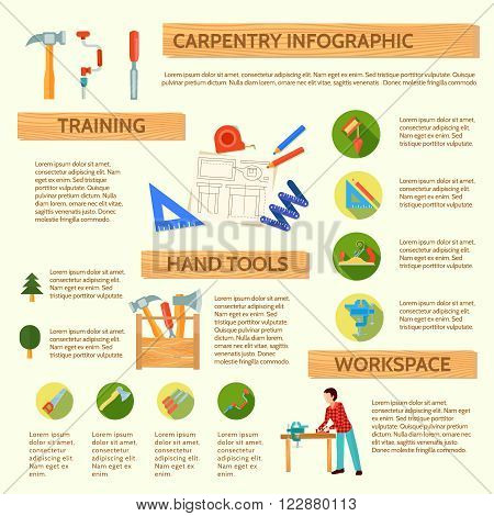 Carpentry infographic with description and application instructions for workshop tools and equipment vector illustration