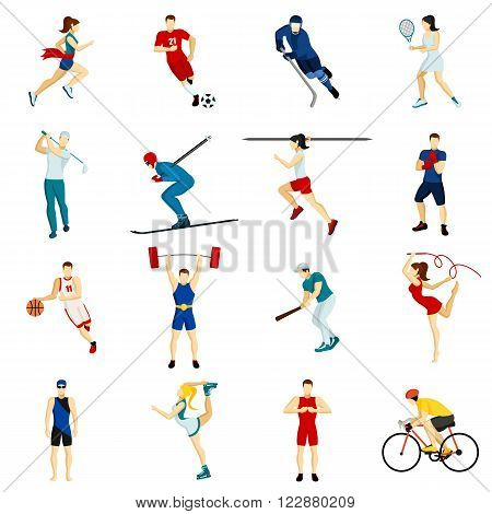 People sport isolated icon set with different types of physical activity in flat style vector illustration
