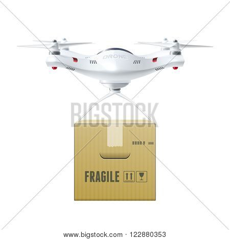 Unmanned drone with box of fragile cargo in realistic style design concept isolated vector illustration