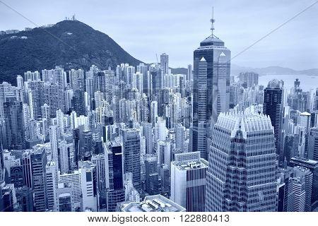 Hong Kong. Toned image of Hong Kong downtown skyline.