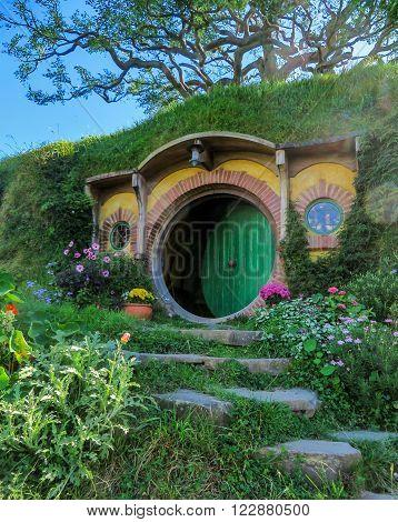 Hobbiton Film Set, New Zealand - March 31, 2015: Bilbo Baggins' hobbit home in Hobbiton in Matamata, New Zealnd