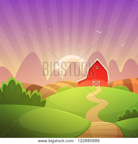 Countryside landscape with red farm barn, cartoon vector illustration.