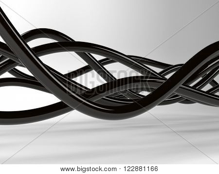 Black electric wires or abstract lines