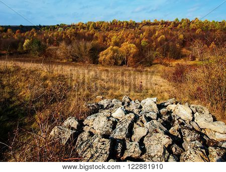 Autumn forest in the hilly terrain and rocks