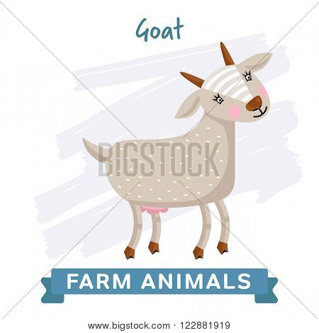 Raster Farm Animal, Goat. Raster Goat. Cartoon Goat. Isolated Goat. Cute Goat. Smiling Goat. Illustration of funny Goat. Goat on white background. Colorful illustration of Goat.
