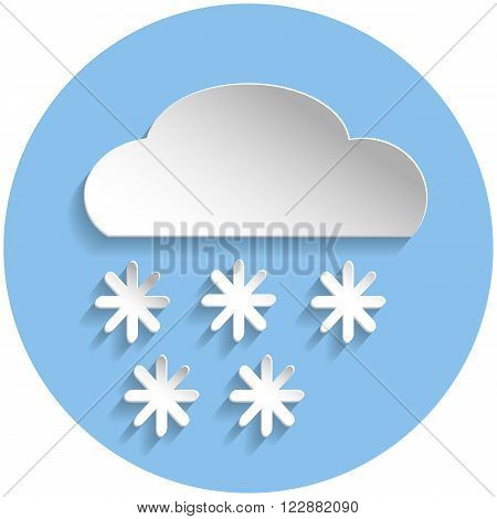 Snowflake Cloud Icon, Paper Style