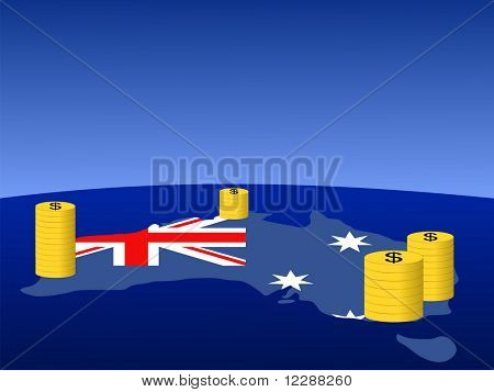 stacks of Dollar coins with map and flag of Australia JPG