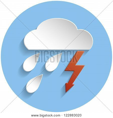 Thunderstorm Cloud Icon, Paper Style