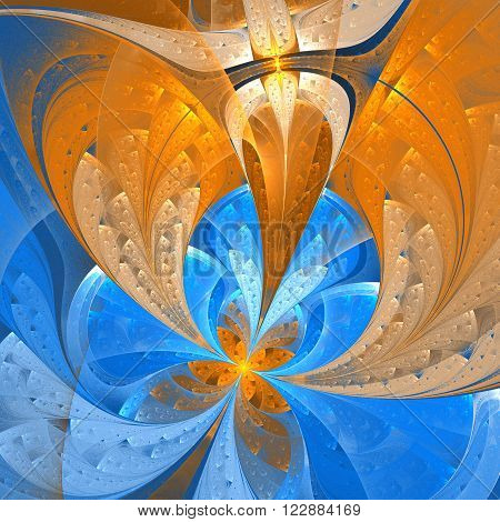 Beautiful fractal flower in stained glass window style. Element of design. You can use it for invitations, notebook covers, phone case, postcards, cards and so on. Artwork for creative design.