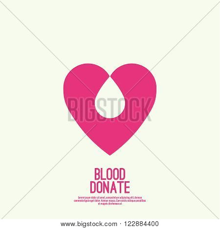 logotype blood donation, help the sick and needy. Heart with drop of blood