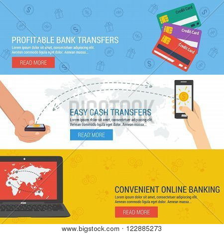 Three vector banners. Concept online banking, money transfer, financial operations. Credit cards, hands with mobile sending money, laptop. Flat style. Web infographics