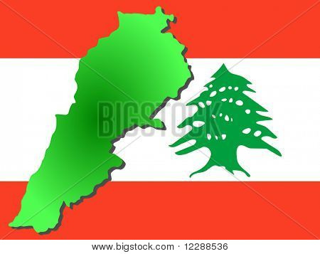 map of Lebanon and Lebanese flag illustration JPG