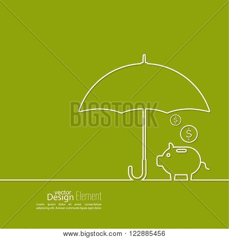 Abstract background with open umbrella with  pig piggy bank.  Protection of money, personal funds, bank deposits. money box