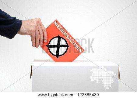 Elections in german region Niedersachsen - Ballot Box and red envelope