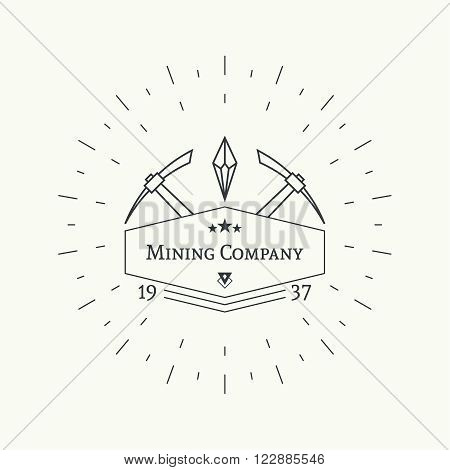 Hipster vintage banner. With crystal and pick, mining. Outline