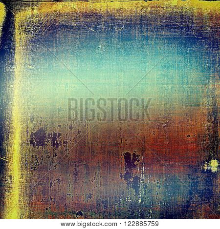 Sharp textured background, aged vintage backdrop with grungy style elements and different color patterns: blue; yellow (beige); brown; purple (violet); red (orange)