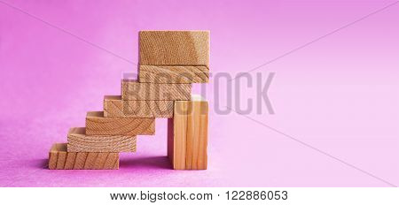 High Heel Shoes On Pink Background. Abstract Wooden Shoe, Footwear Fashion Concept. Soft Focus, Copy