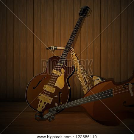 Vector illustration of a jazz musical instruments on a wooden background, bass, jazz guitar, saxophone. There is a place for printing, looks great white text over the image.
