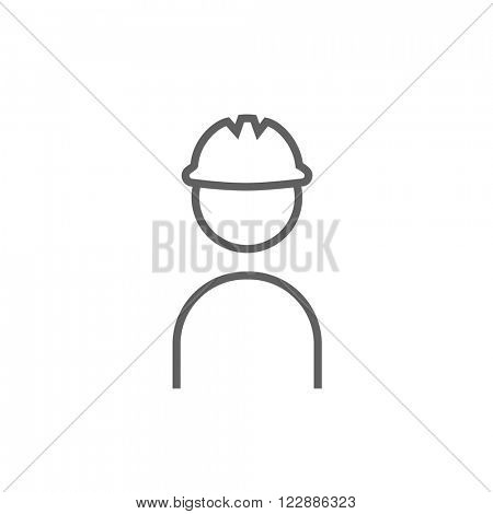 Worker wearing hard hat line icon.