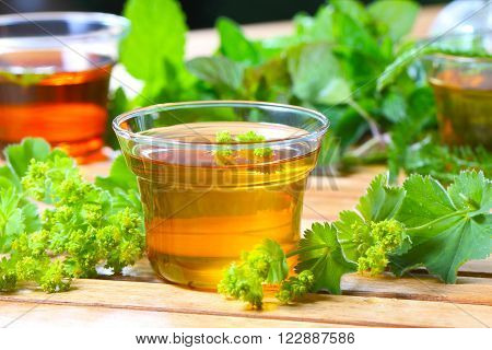lady's mantle tea in a glass cup on the garden table