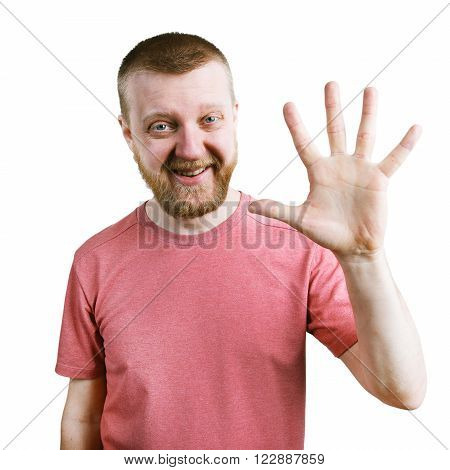 Funny bearded man in a t-shirt are showing five fingers