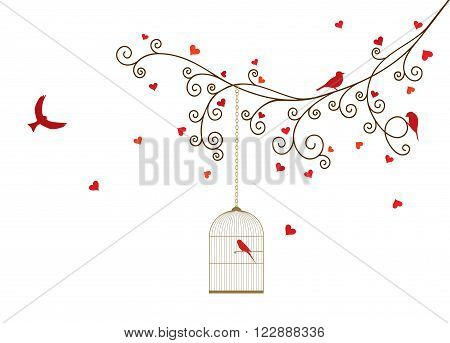 Vector illustration of curly blossom tree branches with hanging cages, wild and domestic birds, hearts. White background.