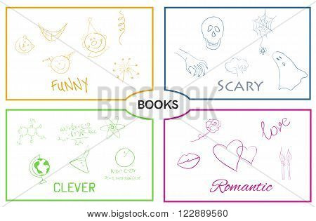 Vector illustration of book categories. Book genres. Horror and romance, science and humor.