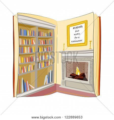 Open book with bookshelf and fireplace picture . Reading finds home for you everywhere. I love reading books concept. Vector illustration.