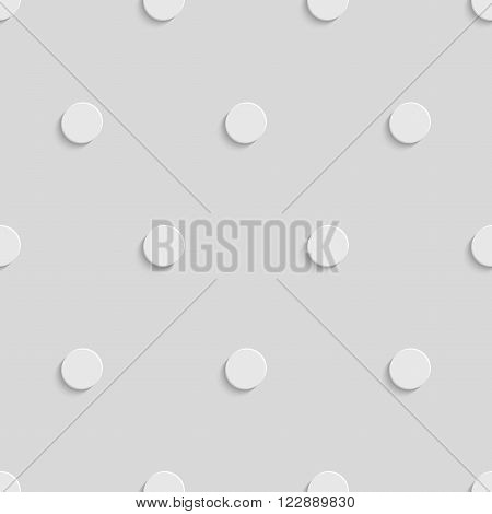 Abstract Geometric 3d White Circle Seamless Pattern, Vector Background
