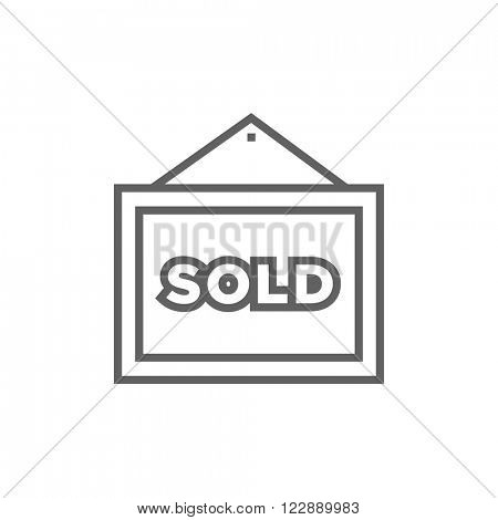Sold placard line icon.