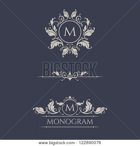 Floral monograms and borders for cards, invitations, menus, labels. Graphic design pages business sign boutiques, cafes, hotels. Classic design elements for wedding invitations.