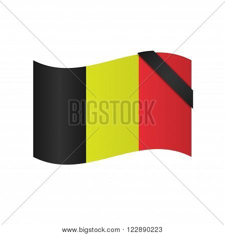 Belgian flag with black ribbon. Mourning knot, mourning symbol
