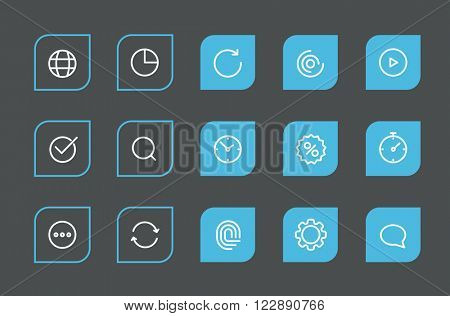 Modern web and mobile application pictograms collection. Lineart intercece icons se