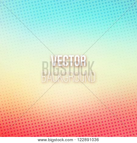 Pink and blue colored blurred background with halftone effect. Pastel blurry gradient. Dotted pattern. Shiny abstract background. Smooth colorful background. Vector illustration.
